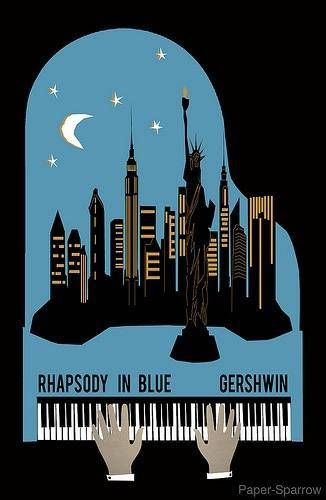 "Gershwin on piano, ""Rhapsody In Blue"" New York."