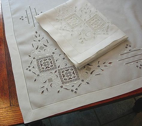 Em's Heart Antique Linens -Antique Italian Linen Embroidered Sheet Shams Set