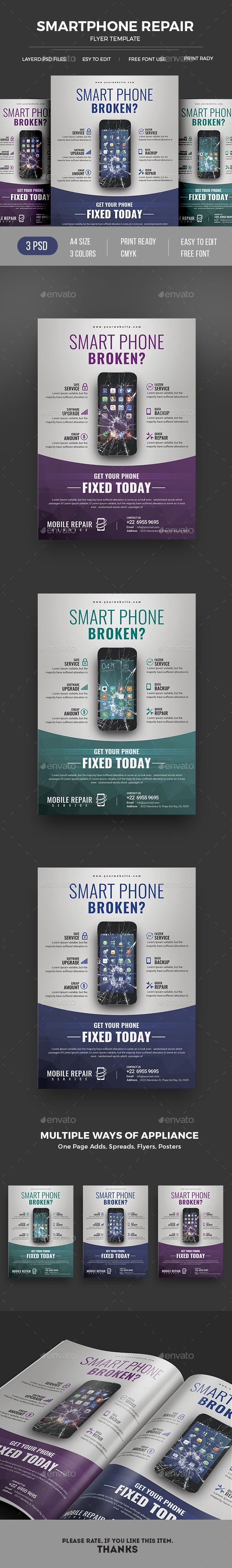 Smartphone Repair by themedevisers Mobile Repair Flyer Template.This mobile repair flyer template is suitable for mobile repair business, computer repair service pro