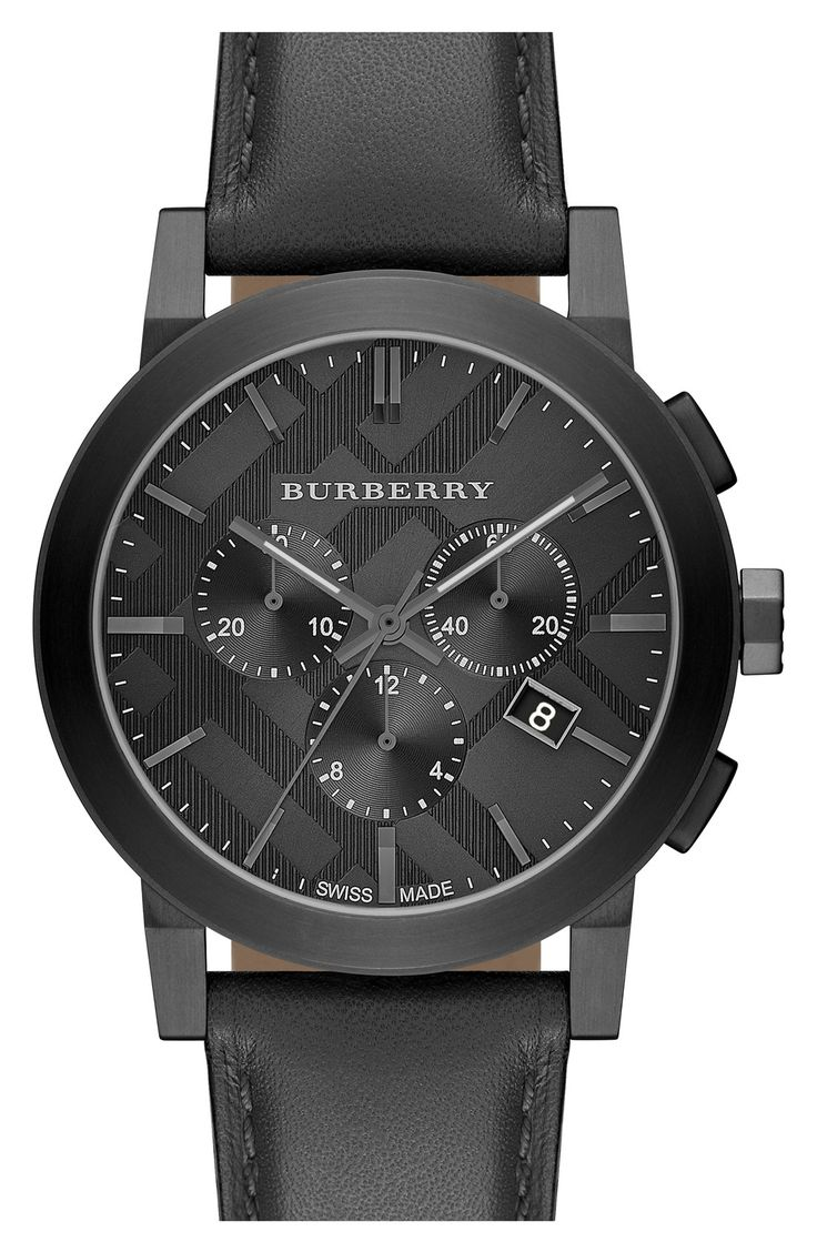 Men 39 s burberry check stamped chronograph leather strap watch 42mm dads father 39 s day and your for Burberry watches