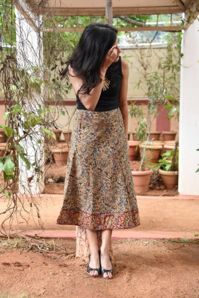 how to style midi skirts kalamkari