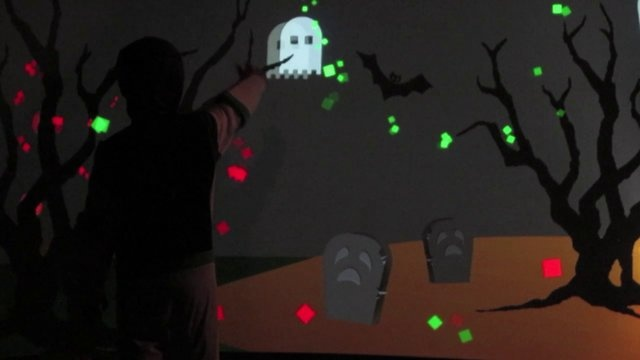 "Kinect project I put together for the Halloween Trick or Treaters projected in my garage. A simple game where up to 2 players can pop ghosts using their right hand. A ""Happy Halloween!"" message appears after popping all 20 ghosts.    Built in Adobe AIR thanks to AIRKinect ( http://www.as3nui.com/ )    Music: ""The Staff"" by Multifaros (http://multifaros.info.se/)"