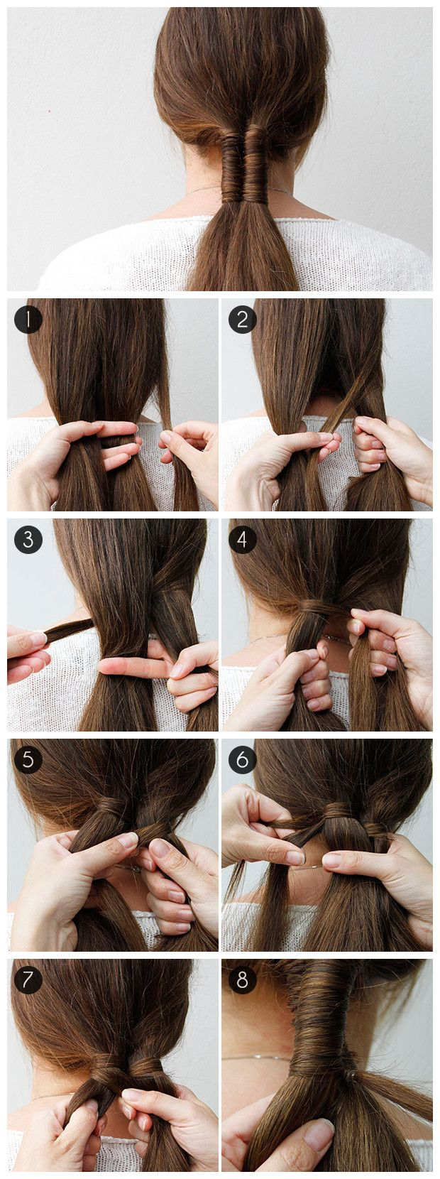 Add a personal twist to the low ponytail trend with an infinity braid