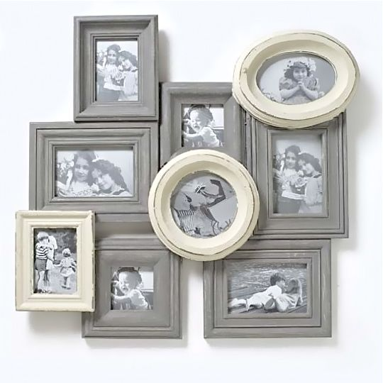 vintage inspired distressed large wooden cream grey multi photo frame by heaven sends