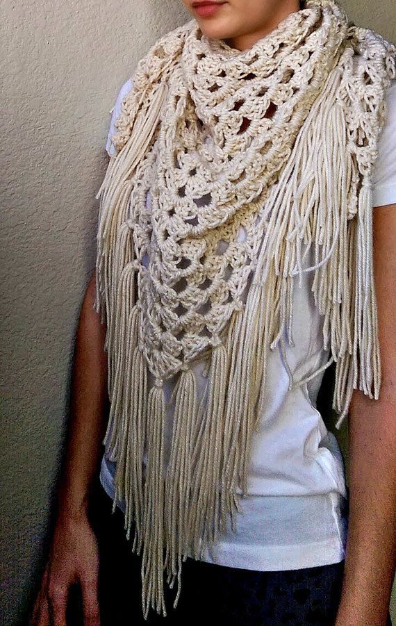 Spring Crochet Shawl. Lace Fringe Scarf by The Snugglery