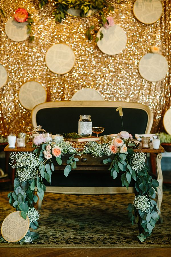 unique sweetheart table - photo by A Brit and A Blonde http://ruffledblog.com/creative-toronto-wedding-with-stylish-backdrops #sweethearttable #weddingideas #reception