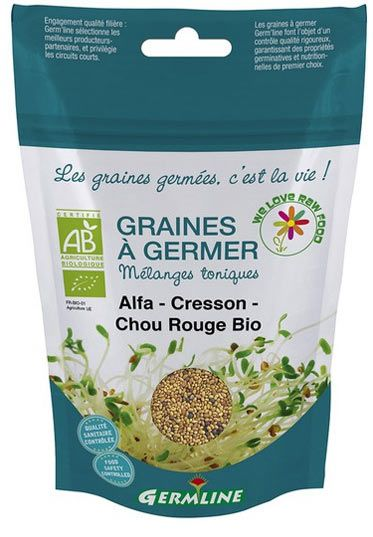 Graines à germer : mélange d'alfalfa - cresson - chou rouge