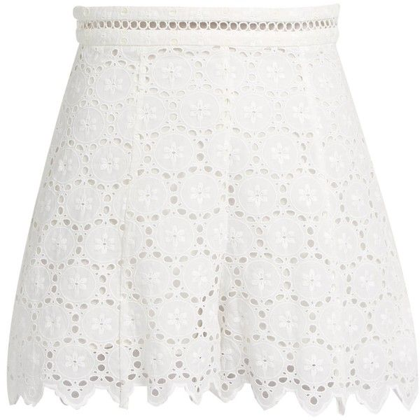 Zimmermann Divinity Wheel broderie-anglaise shorts ($210) ❤ liked on Polyvore featuring shorts, white floral shorts, high-waisted shorts, floral printed shorts, high waisted patterned shorts and lace shorts