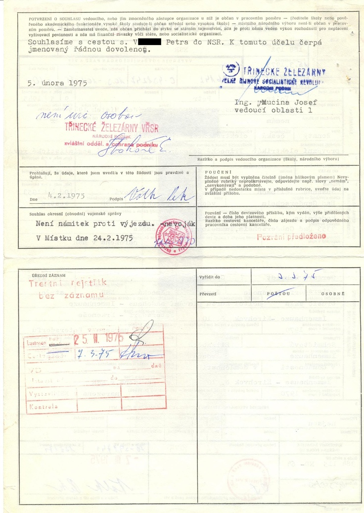 žádost o výjezdní doložku, rub (1975)