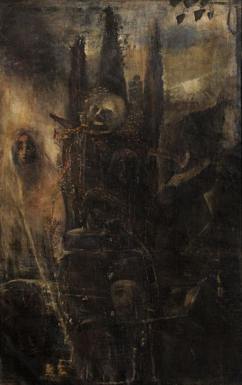 """""""The Cliff of Death"""" by Lajos Gulácsy"""