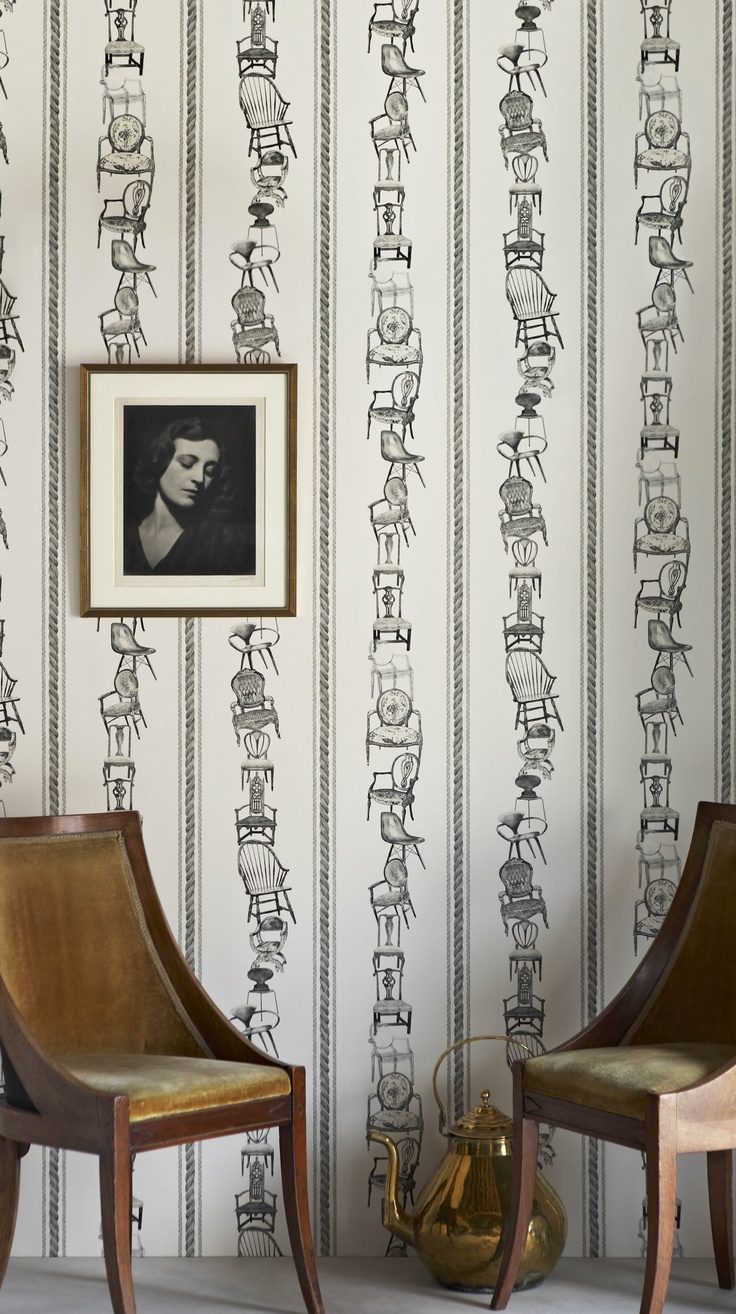 'Chairs' wallpaper (black on parchment)