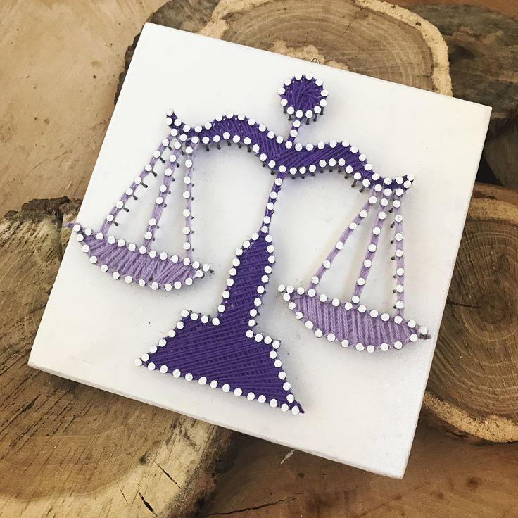 Zodiac sign string art / Libra string art / 20x20 cm wood / decoration (fb: www.facebook.com/atelierulluighidus)