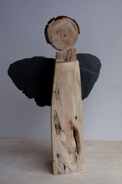 handgefertigter engel aus holz stein von bk s kleine. Black Bedroom Furniture Sets. Home Design Ideas