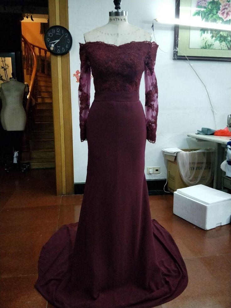 Бордовый Русалка Длинные вечерние платья 2017 аппликации платье с длинным рукавом Пром вечерние платья