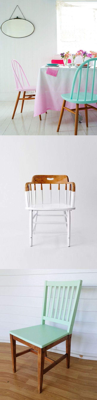 Renovar tus viejas sillas pintando solo algunas partes de ellas. / Renewing your old chairs painted only some parts of them. #recycle design