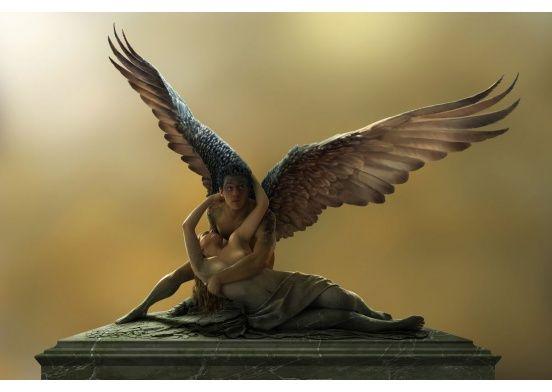 """""""Der Dieb vom Louvre"""" Das Bild zeigt die Verwandlung einer Steinskulptur zu lebendem Fleisch. Eine Homage an den großen Künstler """" Antonio Canova """". Tauchen Sie ein in die faszinierende Welt des Fotosurrealismus. Außergewöhnliche Fantasy Kunst, die zum Träumen anregt"""