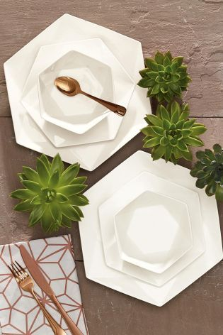 Hexagon plates with rotational symmetry, pure white color, beautiful products and unique. - Buy 12 Piece Angular Dinner Set online today at Next: Israel