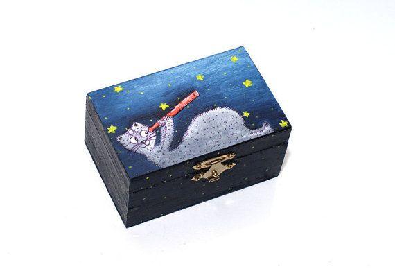 Baptism gift boy - Cat box - Christmas gift for children - Starry sky wood box - Gifts for boys - Christening gift boy - Nursery decor - Baby shower gift