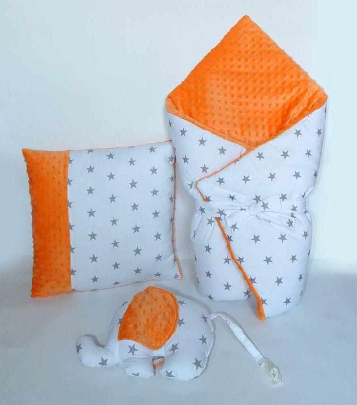 zestaw MINKY sowapink rożek, poduszka, słonik / beautiful set for babies cotton and minky fabric. Handmade by Lulajbaby