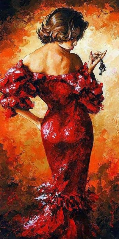 Художник Imre Toth. Роковая женщина в красном. Картины