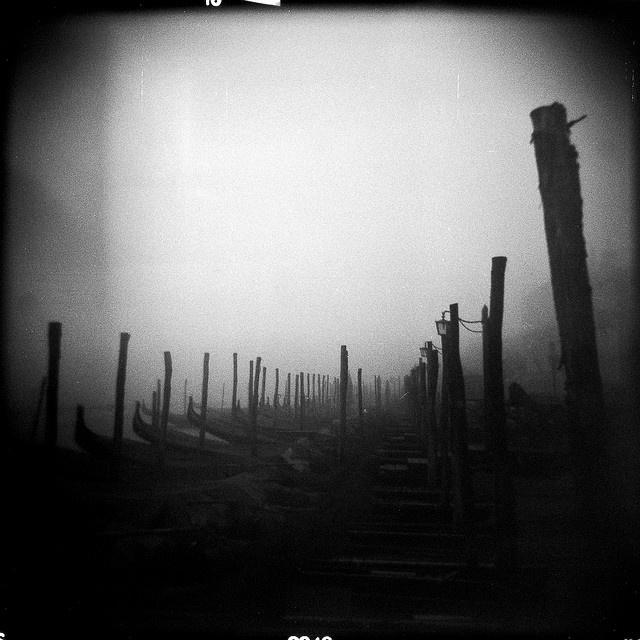 Gondolas in the Fog, San Marco    Holga CFN | Ilford HP5 400    by Damian Storey