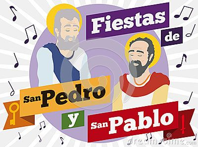 Poster with Saints Peter and Paul portraits in flat style with musical notes around them to commemorate Colombian celebrations in this holiday texts written in Spanish.
