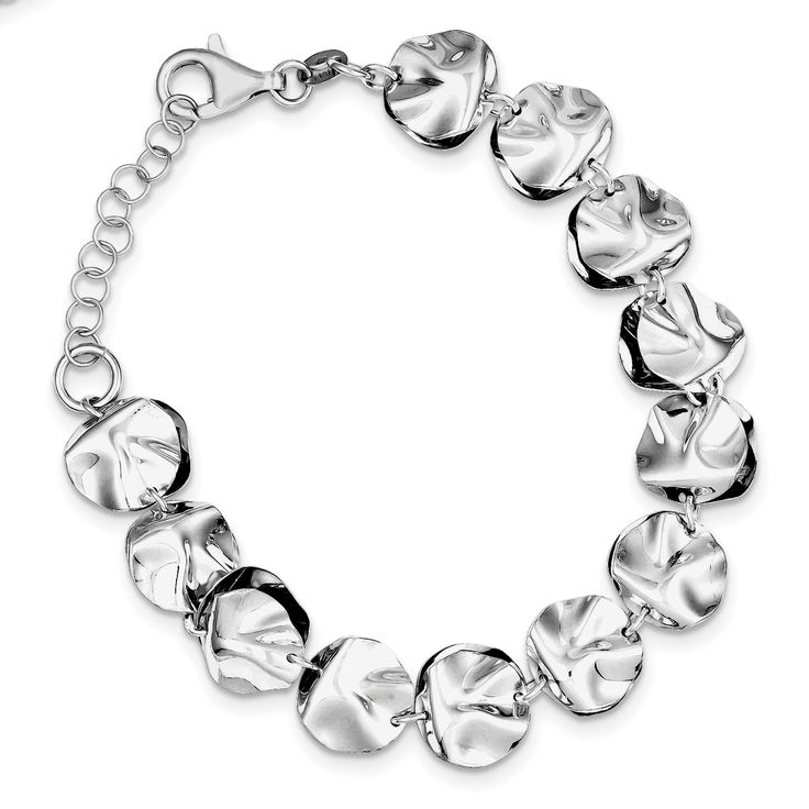 Sterling Silver Rhodium Plated Polished Fancy w/ 1in ext. Bracelet