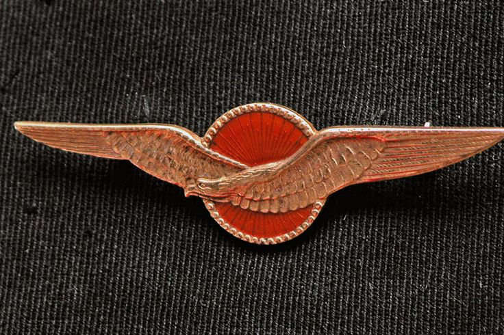 Dutch Army Air Force pilot wing. The wing could be sewn in bullion thread directly to the tunic or be a metal badge as worn hear. The badges were well made, die stamped metal and gilded gold. The central device is made of orange, clear enamel.