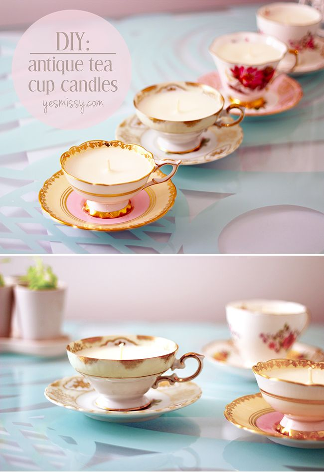 Teacup candles. Wouldn't do this with, like, teacups I actually love, but it's super cute for tea party decor. There's always neat teacups at thrift stores.