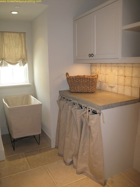 Laundry room with skirting over washer/dryer - Tami Owen