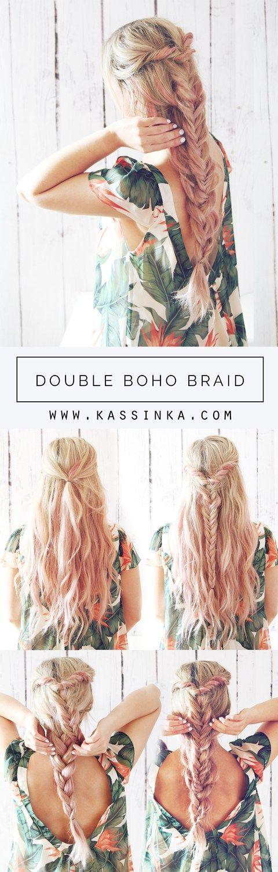 awesome Double Boho Braid Hair Tutorial (Kassinka) by http://www.dana-haircuts.xyz/hair-tutorials/double-boho-braid-hair-tutorial-kassinka/