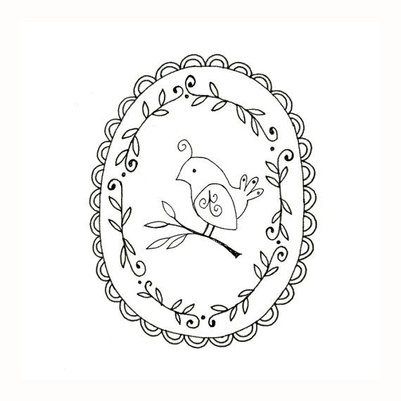 Bird Embroidery Pattern Woodland Animal Printable Digital Downloadable 0054