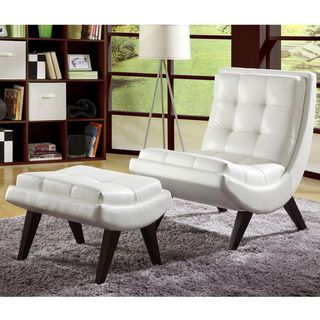 TRIBECCA HOME Albury White Faux Leather Chair With Ottoman   Overstock.com  Shopping   The
