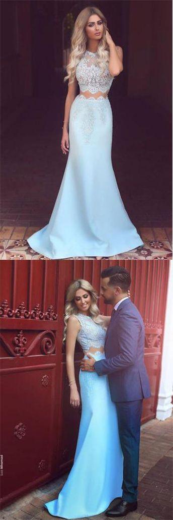 Elegant Two Piece Mermaid Blue Lace High Neck Cap Sleeve Satin Prom Dresses UK PH419#twopieces#lace#evening#dress#blue#simple#mermaid#long#dress