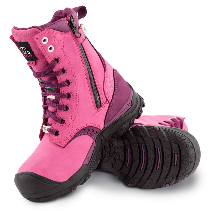 Women's steel toe work boots. Waterproof, CSA approved, Slip resistant. Pink colour.