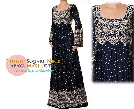 2864 Ethnic Print Square Neckline Jersey Abaya Maxi Dress - Plus Size 1X/2 FREE SHIPPING