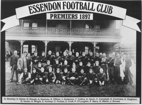 The 1897 premiers, Essendon. Players (from left): Stuckey (c)
