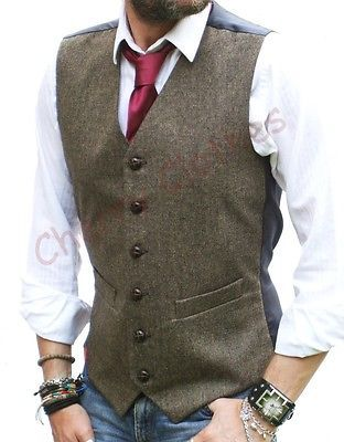 MENS WOOL BLEND BROWN TWEED WAISTCOAT VEST - ALL SIZES S M L XL XXL