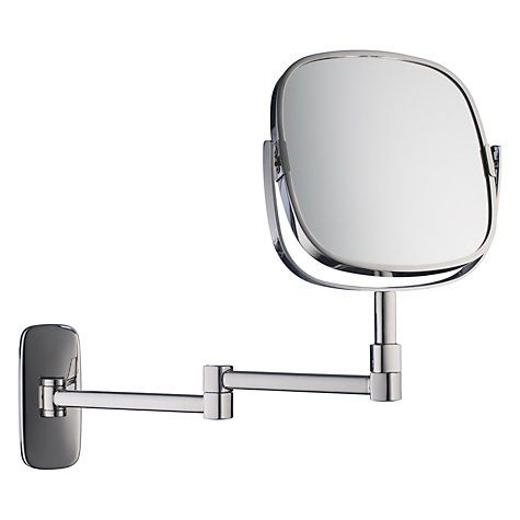 Buy Robert Welch Bathroom Burford Extendable Magnifying Wall Mirror Online at johnlewis.com; £150; mirror face 17 x 17 cm; extends 32cm (I think)