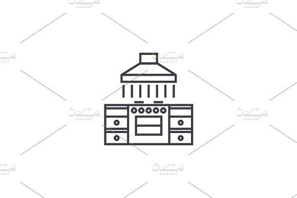 Kitchen table with a vent vector line icon, sign