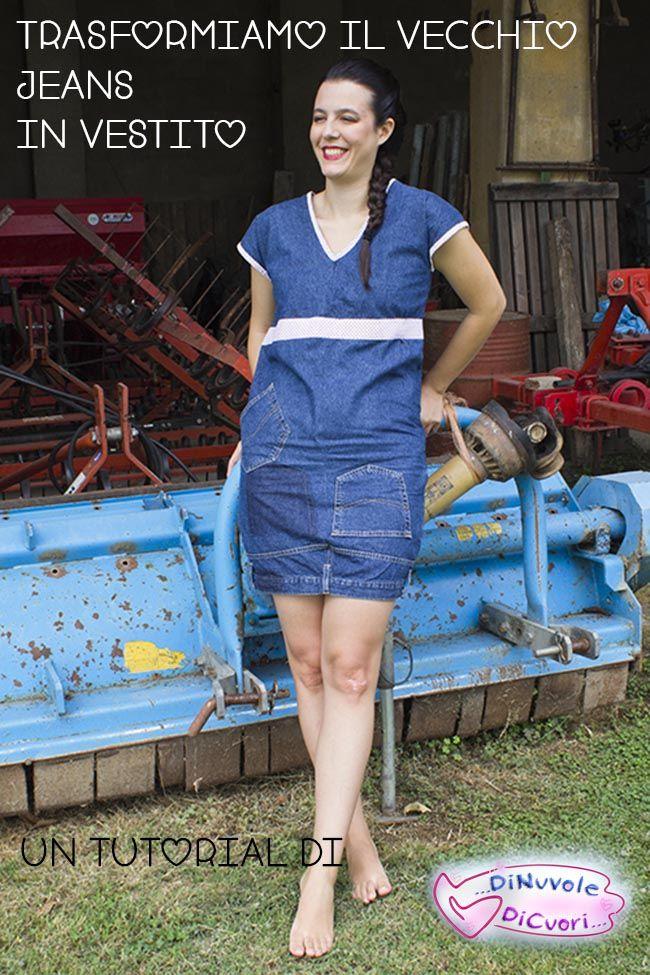 Tutorial refashion trasformiamo il vecchio jeans in vestito - DiNuvoleDiCuori