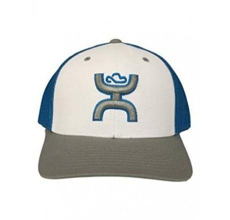"Hooey White Grey and Blue ""Harligen"" FlexFit Ball Cap Hat 1504BLGY-01"