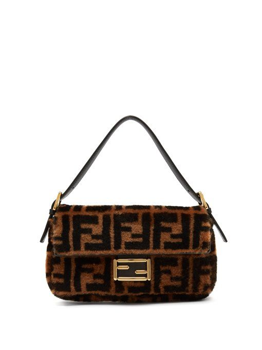 4b3ced8612a9 Fendi Baguette logo-print shearling shoulder bag