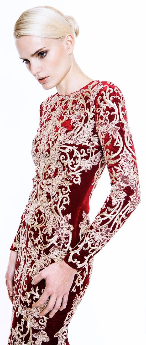 Mikael D - red and white evening gown     (unable to find source for this pin)