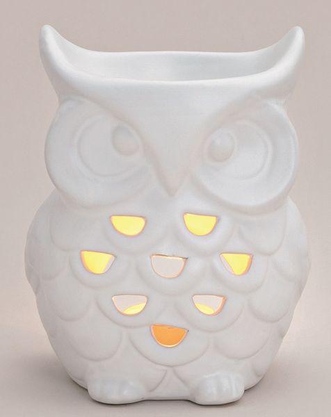 Eine zeitlos schöne Duftlampe in der Form einer Eule in weiß-glasiert aus Porzellan mit Durchbruch.