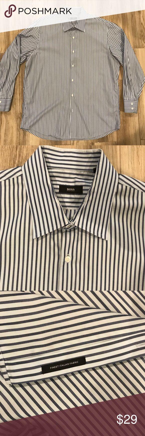 Hugo Boss Men's Button Down Hugo Boss Men's Button Down Shirt. Light blue with navy stripes. Neck 18 Sleeve 34/35. Like new condition-no defects. Hugo Boss Shirts Casual Button Down Shirts