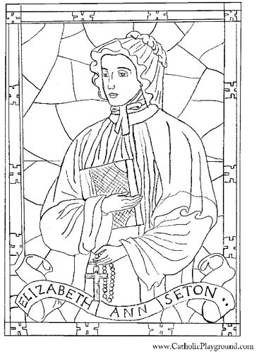 Saint Elizabeth Ann Seton coloring page for Catholic children to color.  Feast day is January 4th.