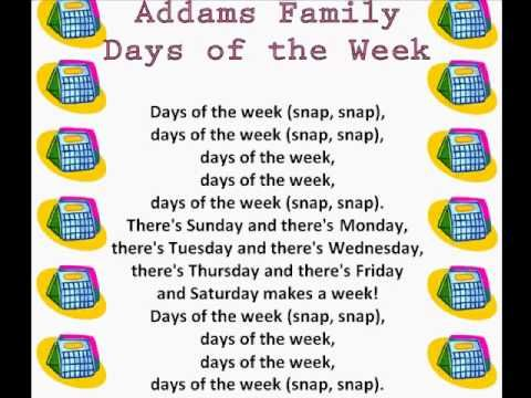 """It's almost Halloween and here is a great song to learn the days of the week!  You can also print this """"Addams Family Days of the Week"""" song off.  www.loving2learn.com"""