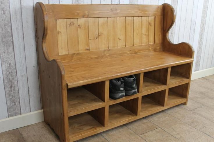 HANDMADE 5FT PINE SETTLE MONKS BENCH PEW WITH SHOE STORAGE COMPARTMENTS