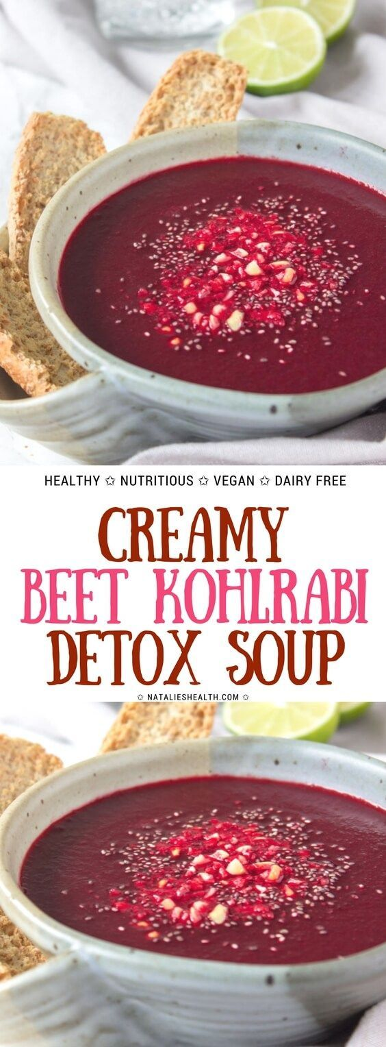 Beet Kohlrabi Soup is a unique and super delicious way to enjoy the nutritional benefits of beets. This vibrant, satisfying and just gorgeous detox soup is bursting with beautiful flavors, antioxidants, and some powerful nutrients, as well as with healing superspecies.  #beet #soup #healthy #healthylife #healthyeating #healthyrecipe #healthylifestyle #vegan #glutenfree #healthy #kidsfriendly #souprecipes #fitfood  #weightlossrecipes  | NATALIESHEALTH.com